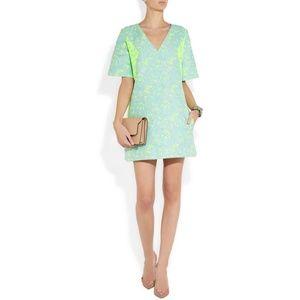 Richard Nicoll Neon Brocade Mini Dress, Sz 10